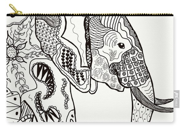 Zentangle Elephant Carry-all Pouch