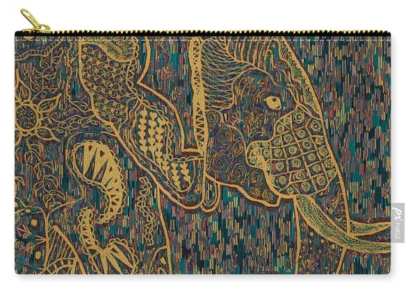 Zentangle Elephant-oil Gold Carry-all Pouch