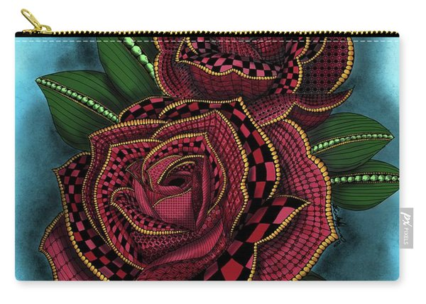 Zentangle Tattoo Rose Colored Carry-all Pouch