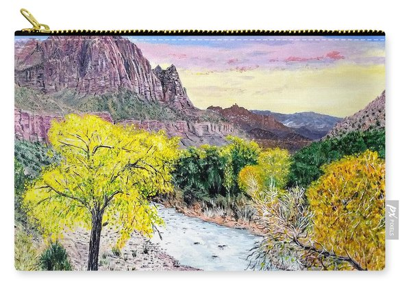 Carry-all Pouch featuring the painting Zion Creek by Kevin Daly
