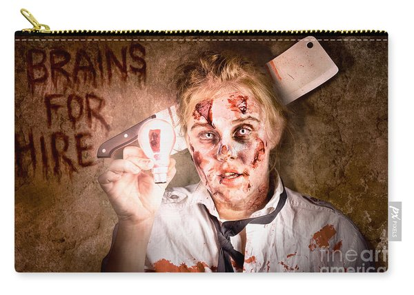 Zombie Holding Bright Light Bulb. Brains For Hire Carry-all Pouch