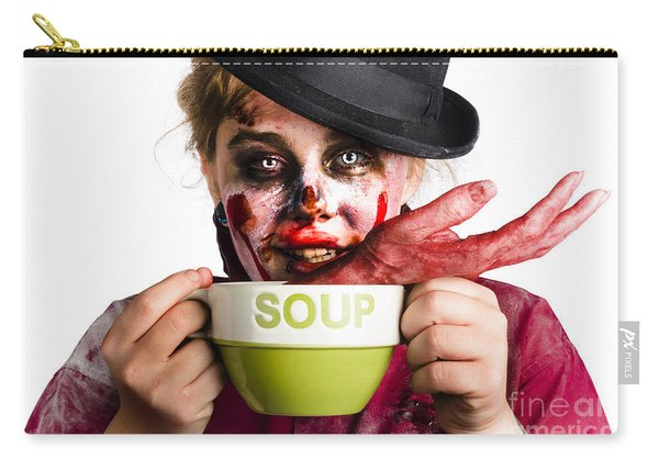 Zombie Woman Eating Hand Soup Carry-all Pouch
