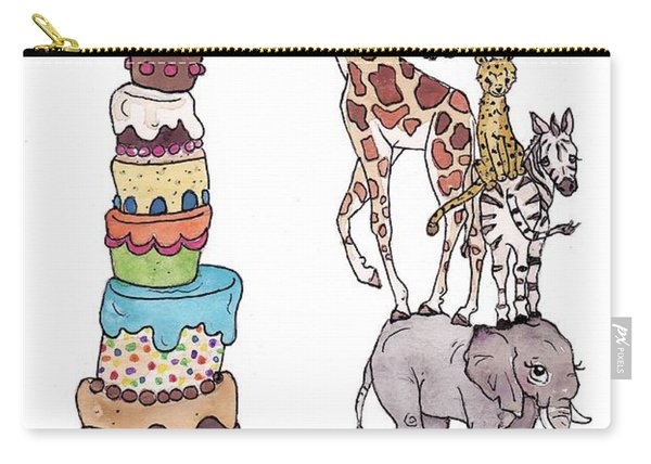 Zoo Animals Happy Birthday Card Carry-all Pouch