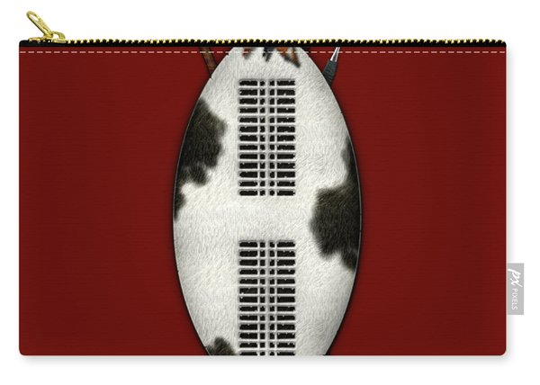 Zulu War Shield With Spear And Club On Red Velvet  Carry-all Pouch