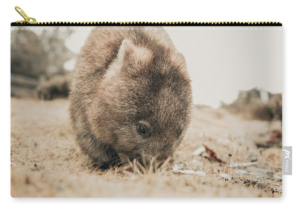 Carry-all Pouch featuring the photograph Adorable Large Wombat During The Day Looking For Grass To Eat by Rob D Imagery