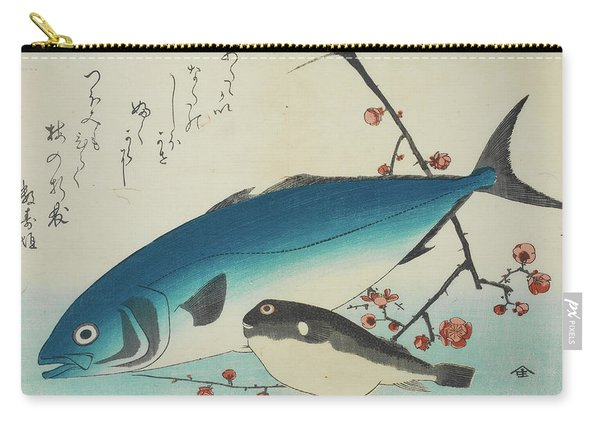 Bonito, Globefish And A Spray Of Blossoming Plum, 19th Century Carry-all Pouch