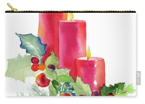 Candles With Holly Carry-all Pouch