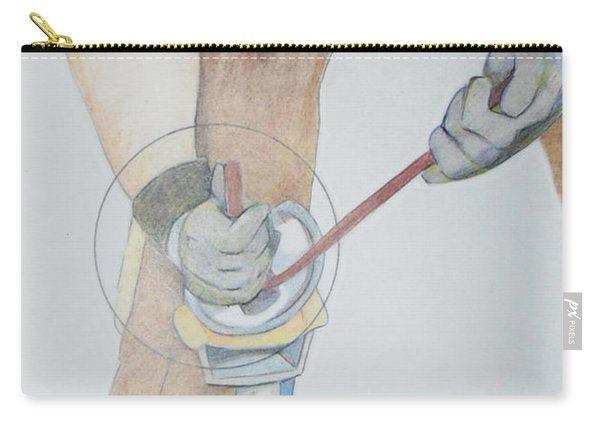 Carry-all Pouch featuring the drawing Clipping Hooves by Loretta Nash
