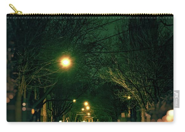 Dark Chicago City Street At Night Carry-all Pouch