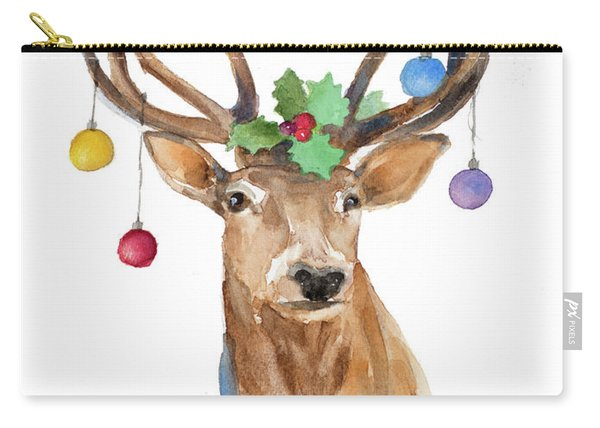 Deer With Holly And Ornaments Carry-all Pouch