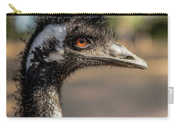 Carry-all Pouch featuring the photograph Emu By Itself Outdoors During The Daytime. by Rob D Imagery