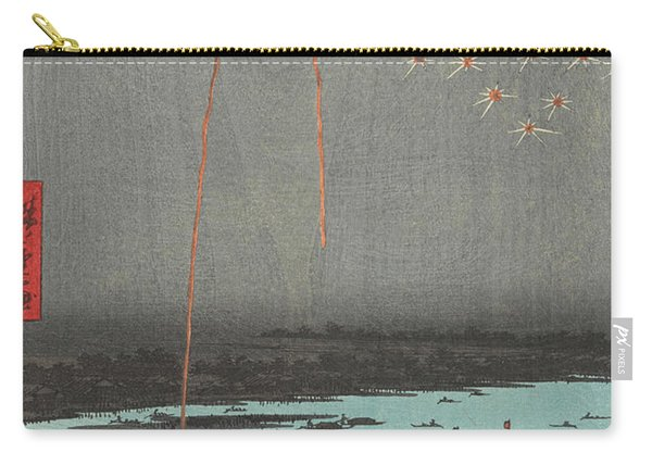 Fireworks At Ryogoku Bridge, 19th Century Carry-all Pouch