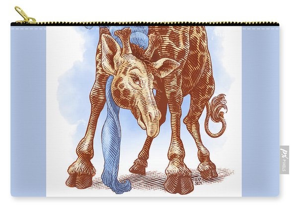 Carry-all Pouch featuring the drawing Giraffe by Clint Hansen