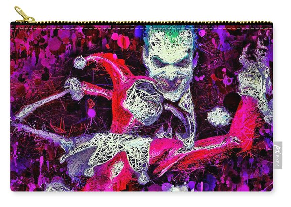 Carry-all Pouch featuring the mixed media Joker And Harley Quinn by Al Matra