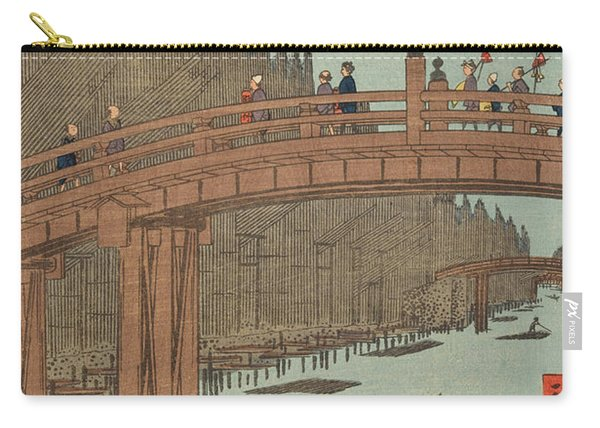 Kyoto Bridge By Moonlight, 19th Century Carry-all Pouch