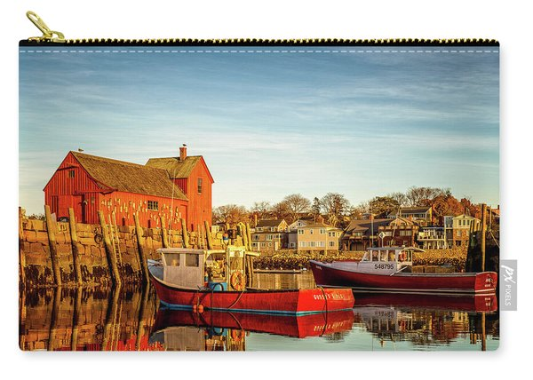 Carry-all Pouch featuring the photograph Low Tide And Lobster Boats At Motif #1 by Jeff Sinon