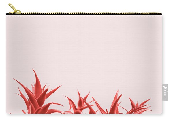 Minimal Contemporary Creative Design With Aloe Plant In Coral Co Carry-all Pouch