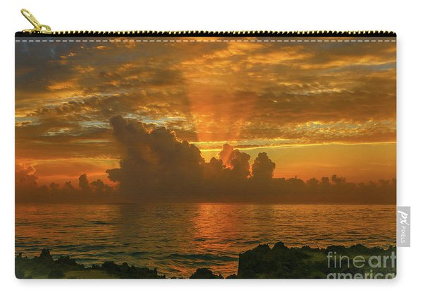Carry-all Pouch featuring the photograph Orange Sun Rays by Tom Claud