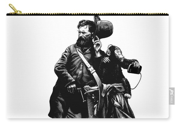Carry-all Pouch featuring the drawing Organ Grinder by Clint Hansen