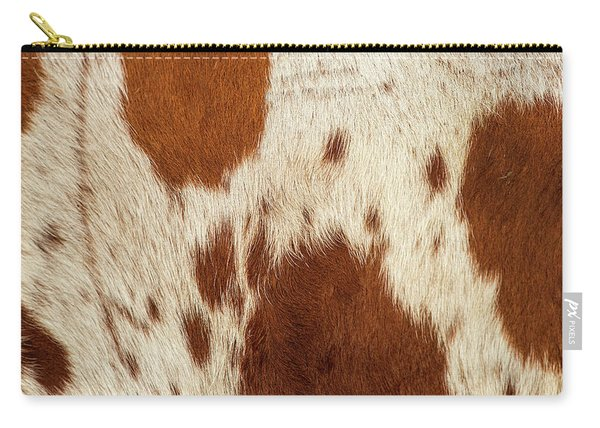 Carry-all Pouch featuring the photograph Pattern Of A Longhorn Bull Cowhide. by Rob D Imagery