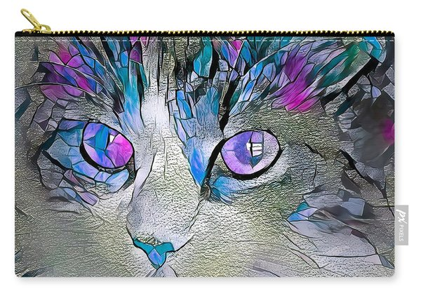 Purple Stained Glass Kitty Carry-all Pouch