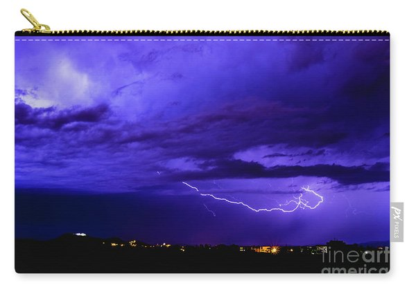 Rays In A Night Storm With Light And Clouds. Carry-all Pouch
