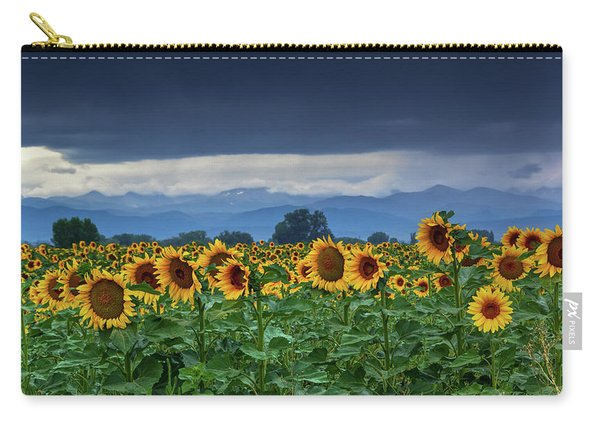 Carry-all Pouch featuring the photograph Sunflowers Under A Stormy Sky by John De Bord