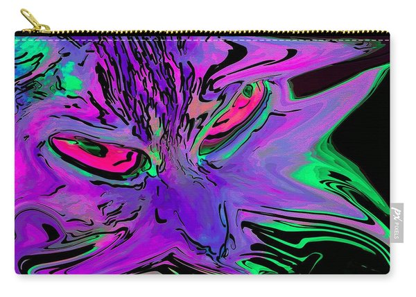 Carry-all Pouch featuring the digital art Super Duper Crazy Cat Purple by Don Northup