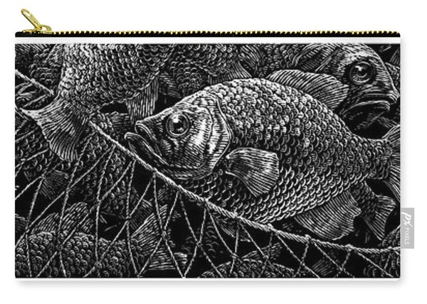 Carry-all Pouch featuring the drawing The Catch by Clint Hansen