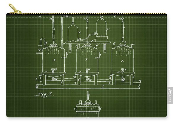 1873 Brewing Beer Apparatus - Dark Green Blueprint Carry-all Pouch