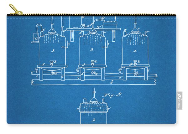 1873 Louis Pasteur Brewing Beer And Ale Blueprint Patent Print Carry-all Pouch