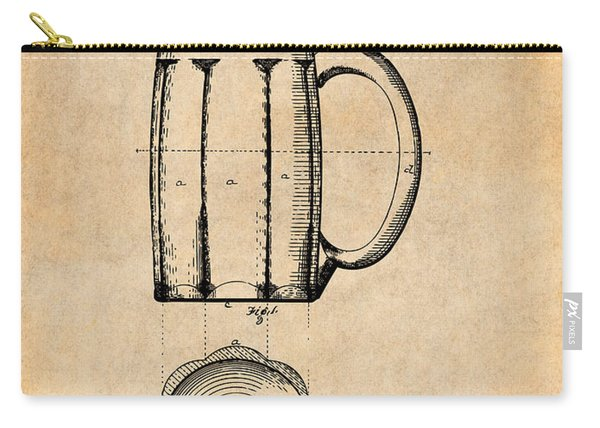 1876 Beer Mug Patent Print Antique Paper Carry-all Pouch