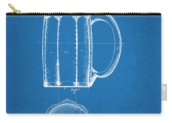 1876 Beer Mug Patent Print Blueprint Carry-all Pouch