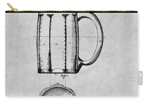 1876 Beer Mug Patent Print Gray Carry-all Pouch