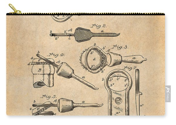 1894 Bottle Cap Opener Antique Paper Patent Print Carry-all Pouch