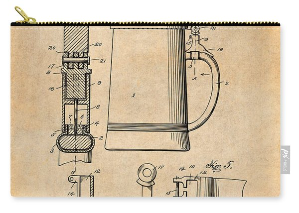 1911 Beer Stein Antique Paper Patent Print Carry-all Pouch