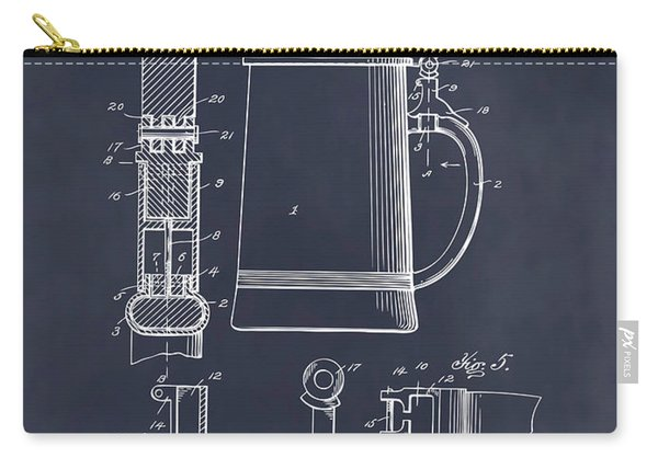 1911 Beer Stein Blackboard Patent Print Carry-all Pouch