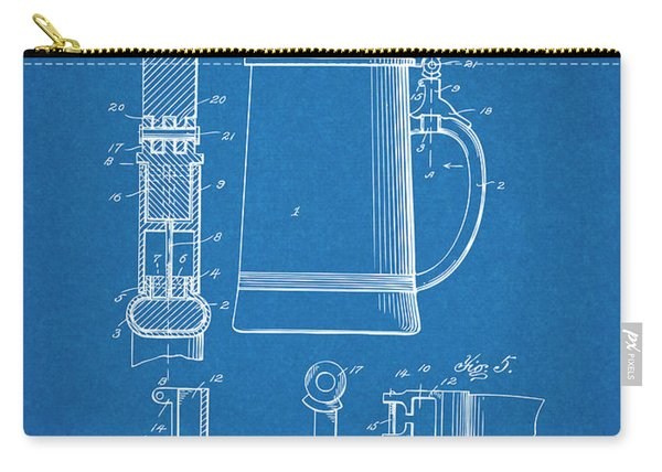 1911 Beer Stein Blueprint Patent Print Carry-all Pouch