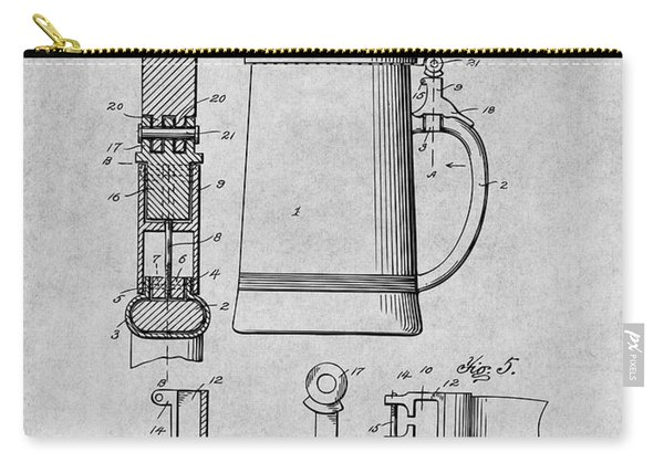 1911 Beer Stein Gray Patent Print Carry-all Pouch