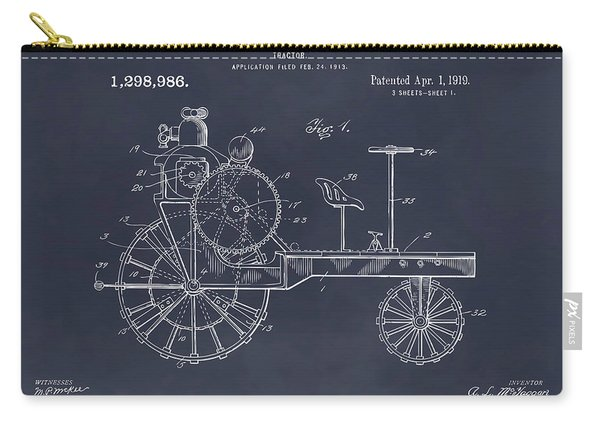1919 Antique Tractor Blackboard Patent Print Carry-all Pouch