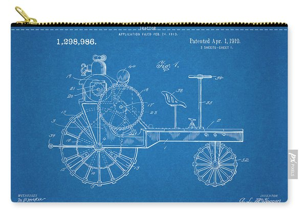 1919 Antique Tractor Blueprint Patent Print Carry-all Pouch