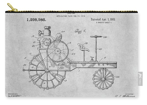 1919 Antique Tractor Gray Patent Print Carry-all Pouch