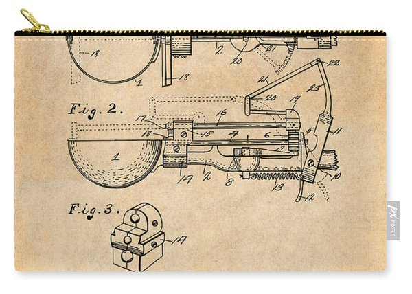 1924 Ice Cream Scoop  Patent Print  Antique Paper  Carry-all Pouch