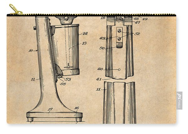 1929 Soda Fountain Drink Mixer Patent Print Antique Paper Carry-all Pouch