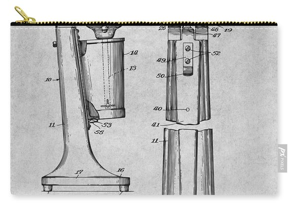 1929 Soda Fountain Drink Mixer Patent Print Gray Carry-all Pouch