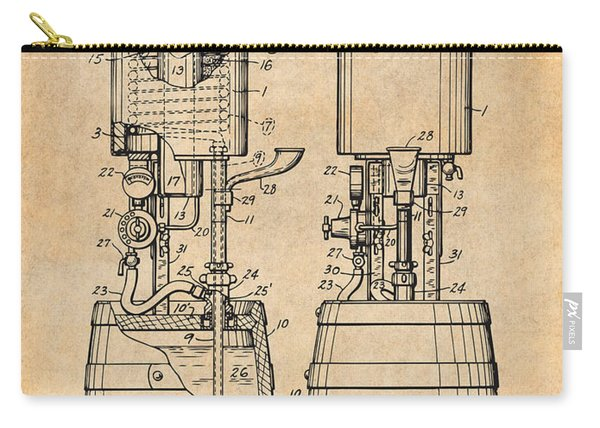 1934 Beer Cooler And Tap Antique Paper Patent Print Carry-all Pouch