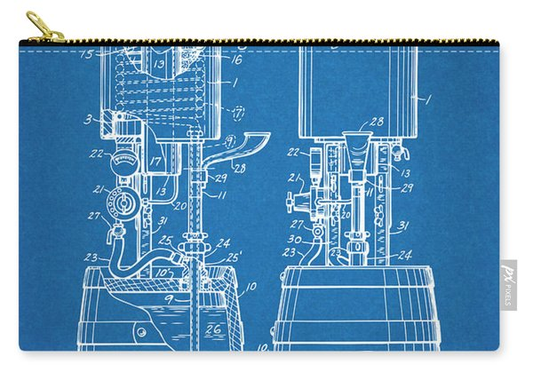 1934 Beer Cooler And Tap Blueprint Patent Print Carry-all Pouch