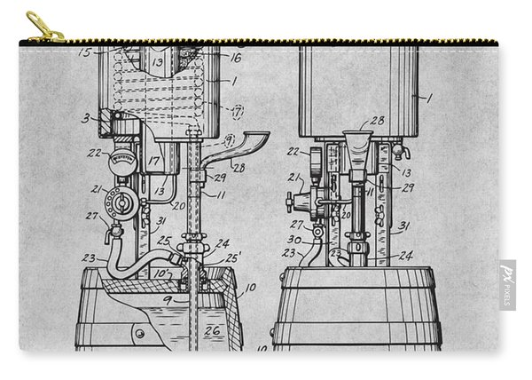1934 Beer Cooler And Tap Gray Patent Print Carry-all Pouch