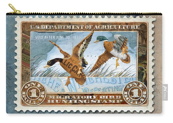 Carry-all Pouch featuring the mixed media 1934 Hunting Stamp Collage by Clint Hansen