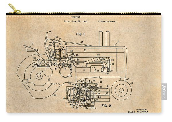 1942 John Deere Tractor Antique Paper Patent Print Carry-all Pouch